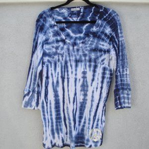 Blue Tie-Dye Cotton Knit by Allen Allen T
